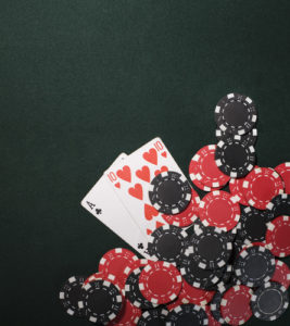 Poker cards and Casino chips